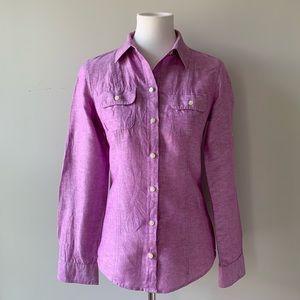 Banana Republic Purple Linen Cotton Collar Shirt